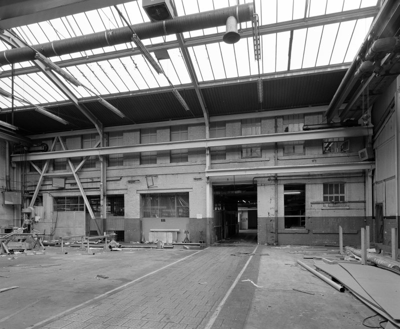 Interior. View of former W side of two-storeyed main block of factory, latterly incorporated within Broadloom/Paper Trade Products department of the United Wire Works