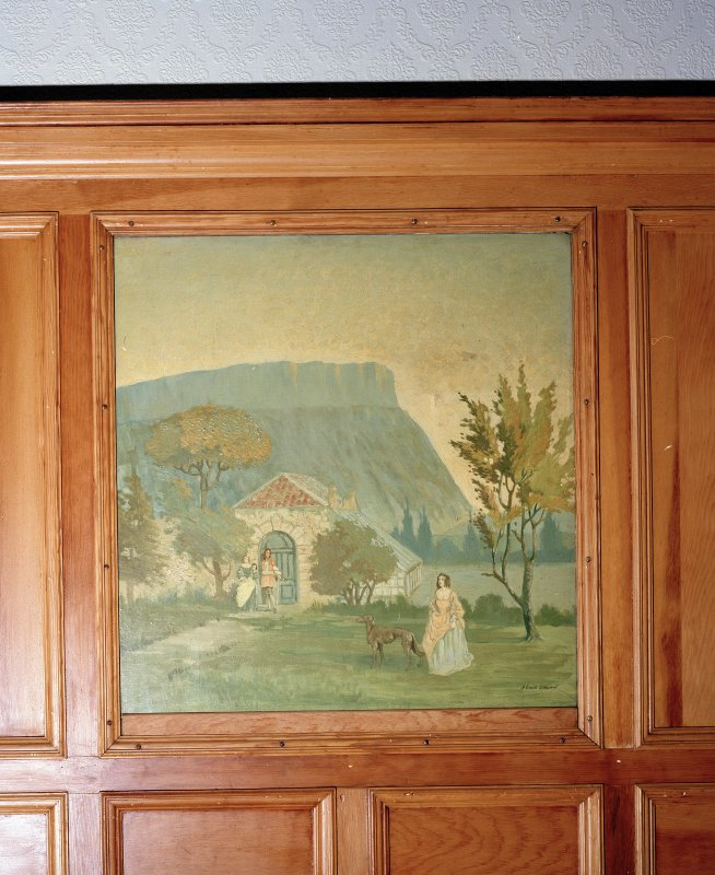 Thomsons Land. Lecture Hall. Interior, detail of painting of summer house