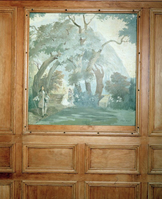 Thomsons Land. Lecture Hall. Interior, detail of painting of pastoral scene