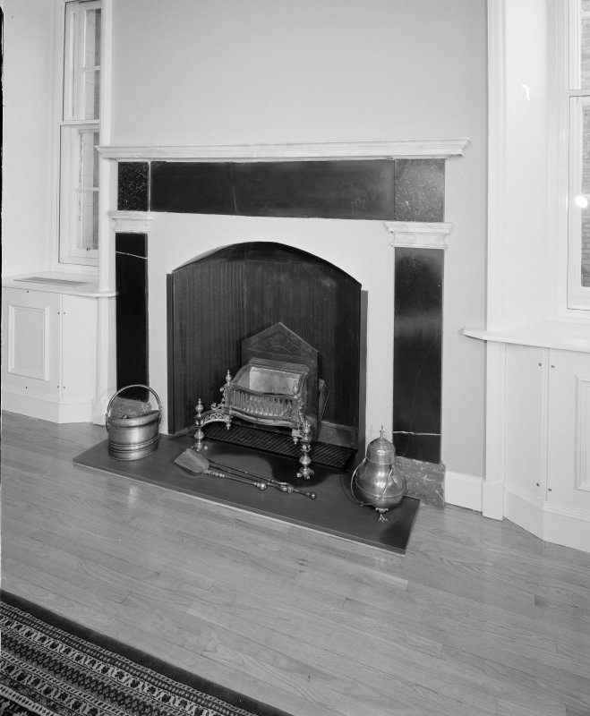 Moray House. Interior. first floor Balcony Room, detail of fireplace