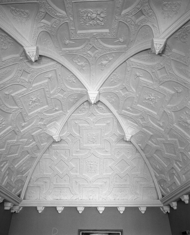 Moray House. Interior. first floor Balcony Room, detail of 17th century  plasterwork ceiling