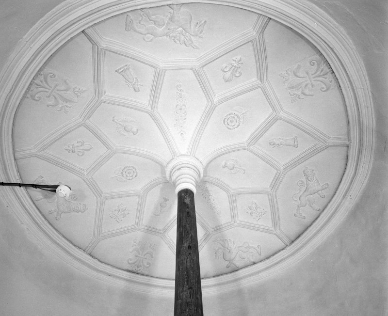 Moray House. Interior. detail of spiral staircase 17th century ceiling plasterwork