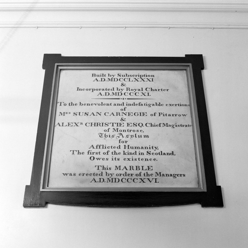 Interior. Main E/W corridor detail of 1781 foundation memorial tablet