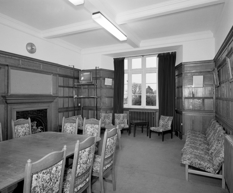 Interior. View of ground floor library from NW