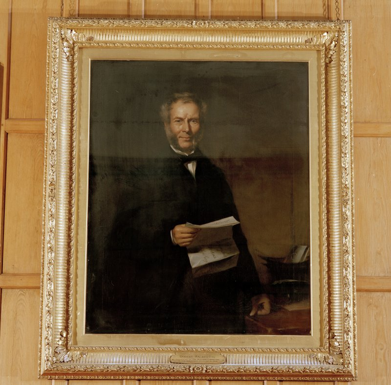 Interior. First floor staff room detail of portrait of Robert Walker