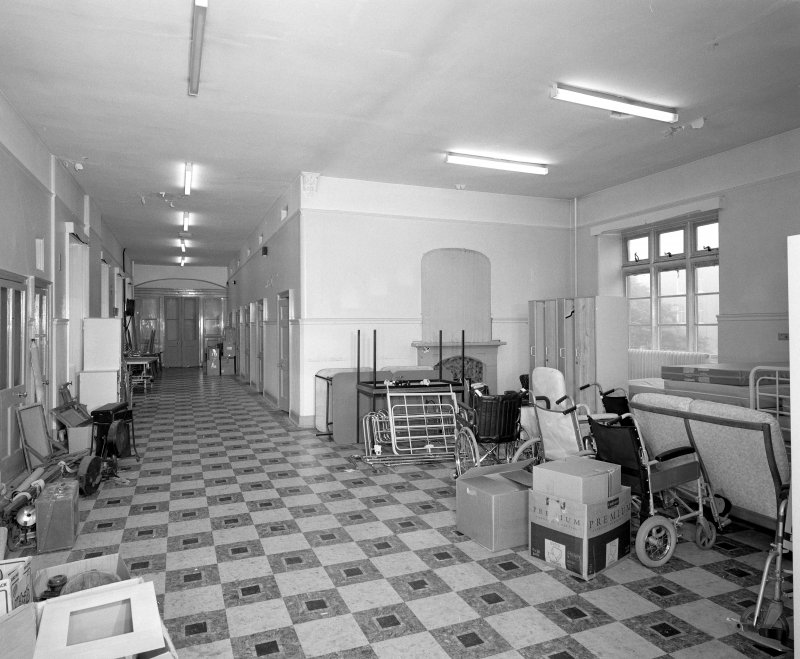 Interior. Second Floor dormitory/ward in W wing from NW