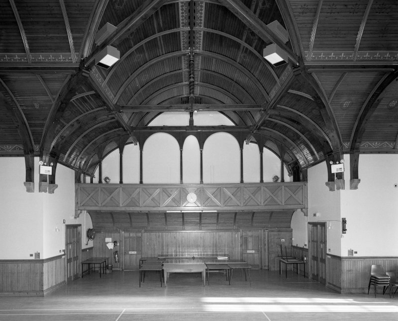 Interior.  First Floor general view of recreation hall from SE