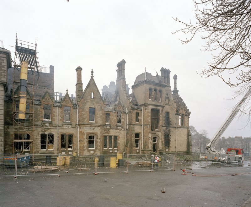 View of north west face of main block from north (after fire)