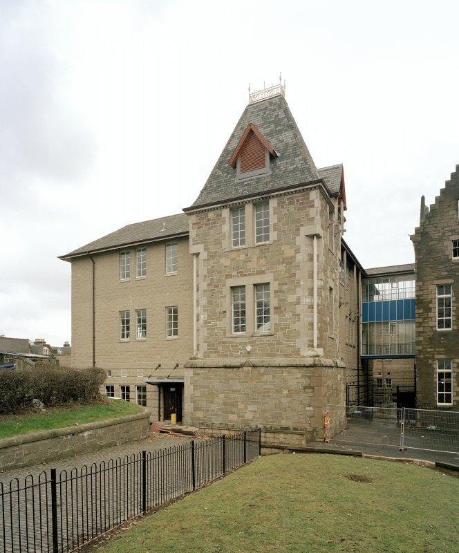 View of modern extension from north west (after fire)