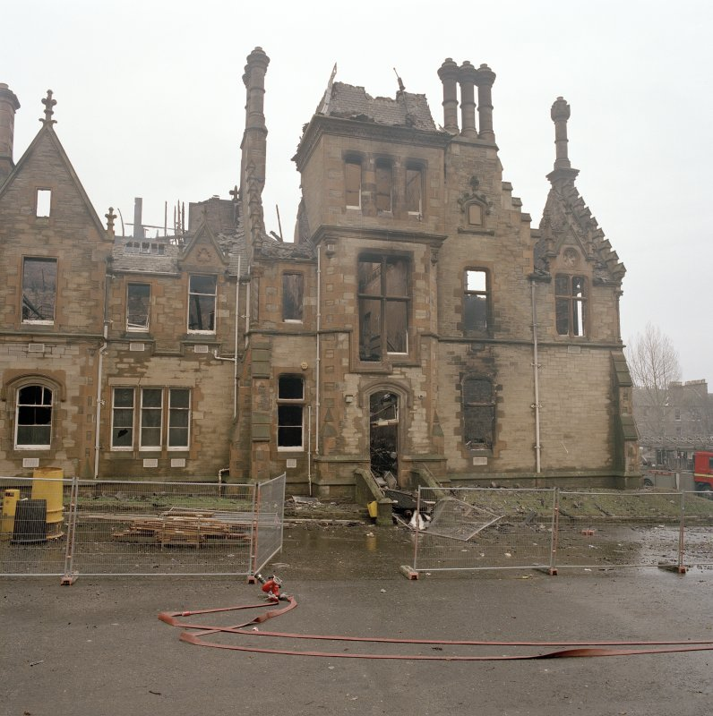 View of north east end of original block from north (after fire)