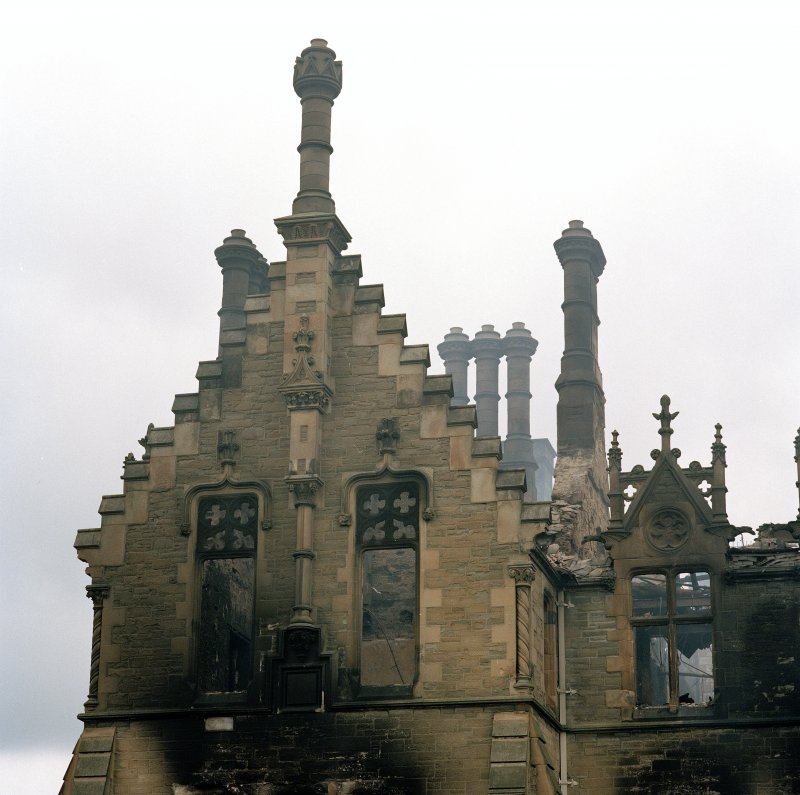 Detail of gable on north end of main south west facade (after fire)