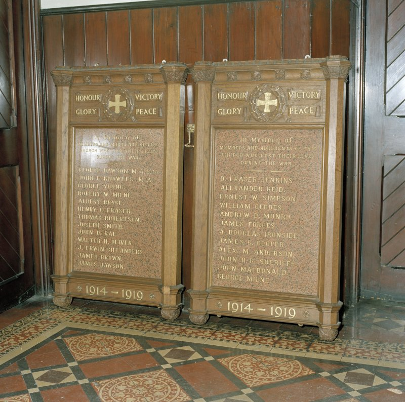 Detail of Great War memorial tablets