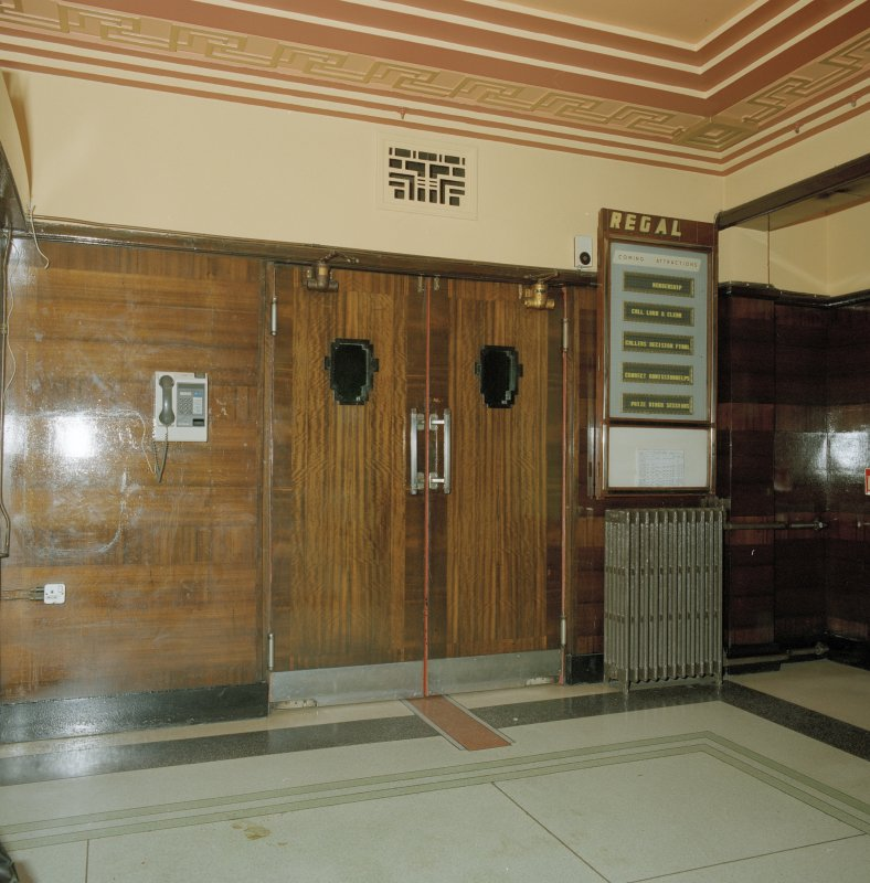 Interior. Detail of foyer doors to auditorium.