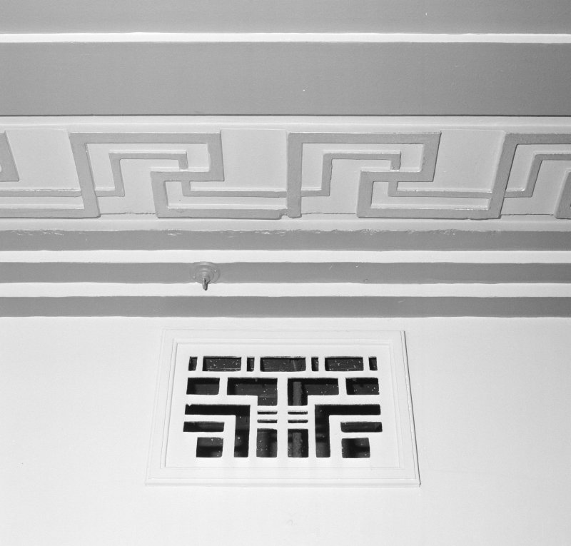 Interior. Detail of foyer ceiling plasterwork and ventilator.