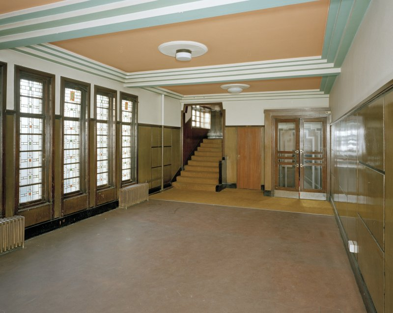 Interior. View of first floor lobby from S.