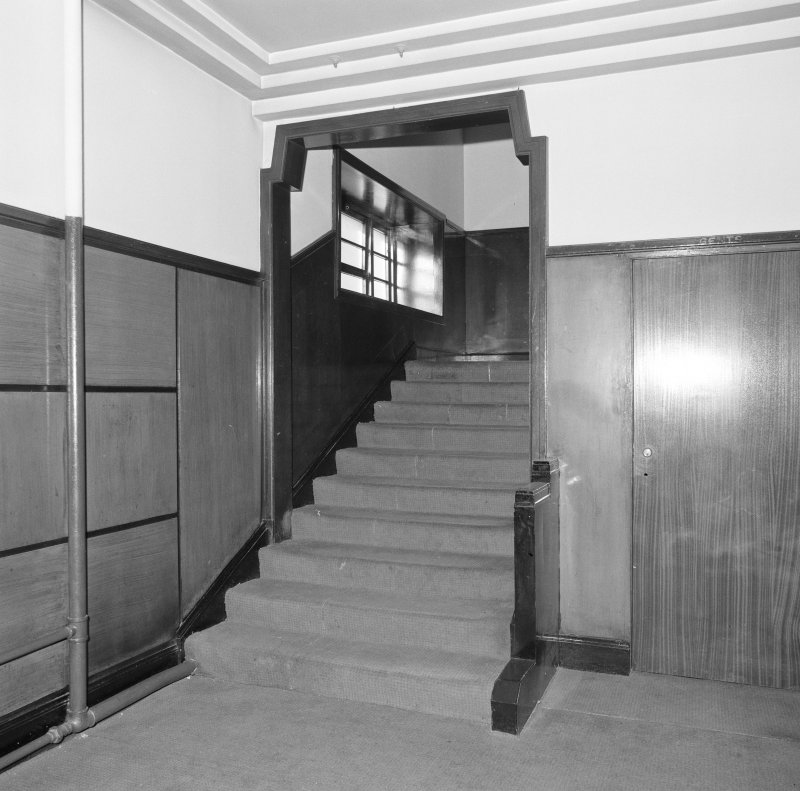 Interior. Detail of first floor lobby stair.