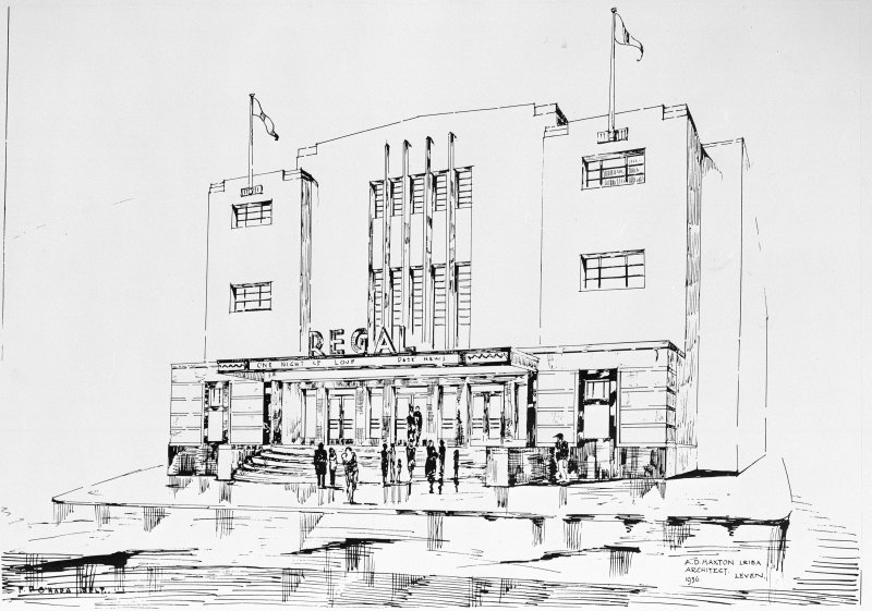Copy of drawing of front elevation designed by A D Haxton LRIBA and drawn by F P O'Hara  (1936)