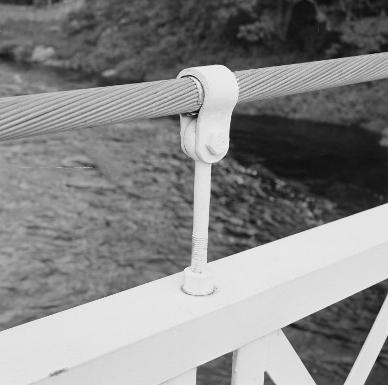 Detail view of short suspender rod with cable clamp.  At the time of survey, there were plans to replace the clamps on the bridge.