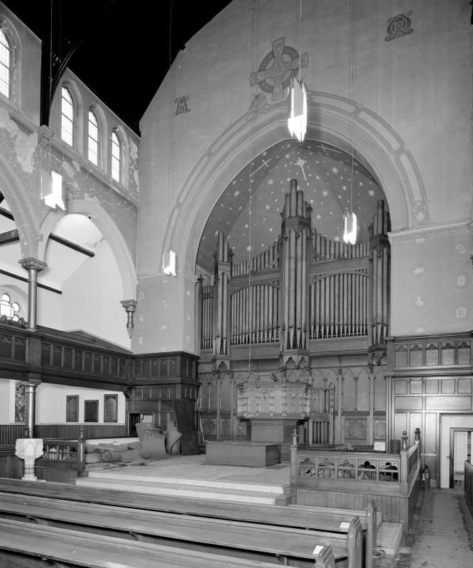 View  of pupit, organ and worship area from South East