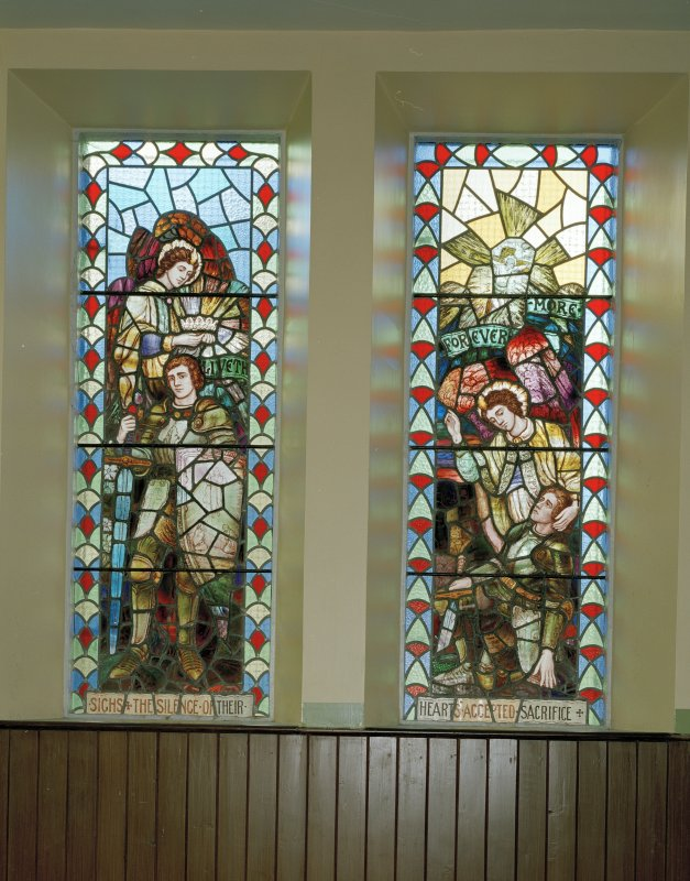 View of  1914-1918 War Memorial stained glass window originally in Crosshill Victoria Church.