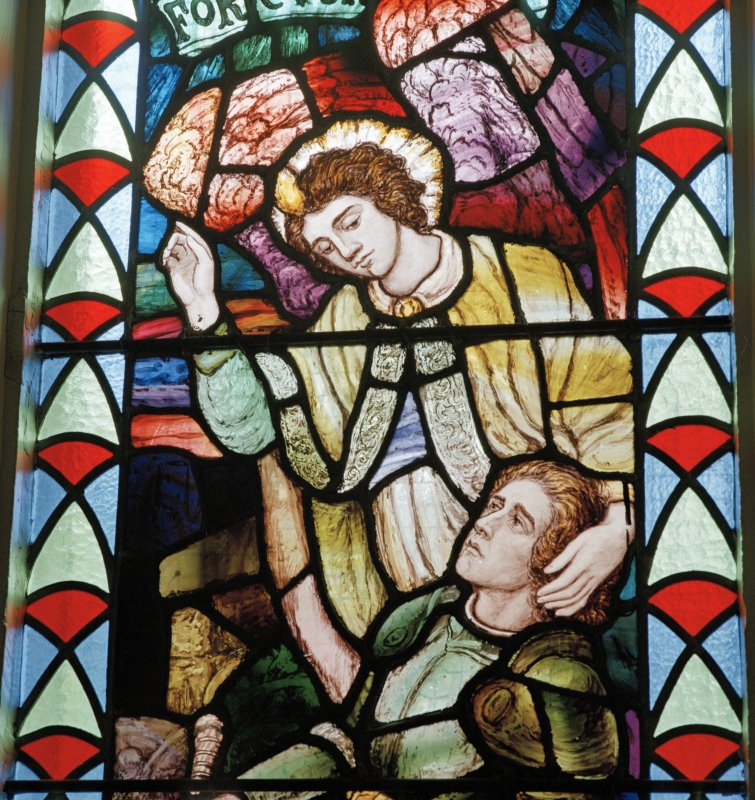 Detail of 1914-1918 War Memorial stained glass window originally in Crosshill Victoria Church.