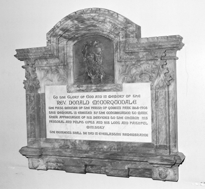 Detail of memorial to Rev Donald McCorqudale first minister of the parish. 1868-1908