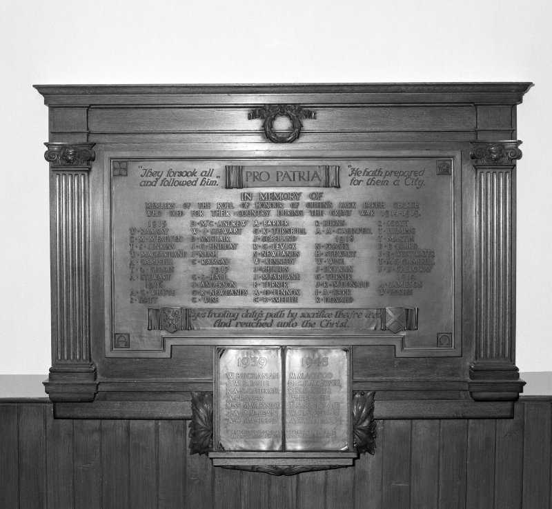 View of First and Second World War Memorial Plaque in entrance hall