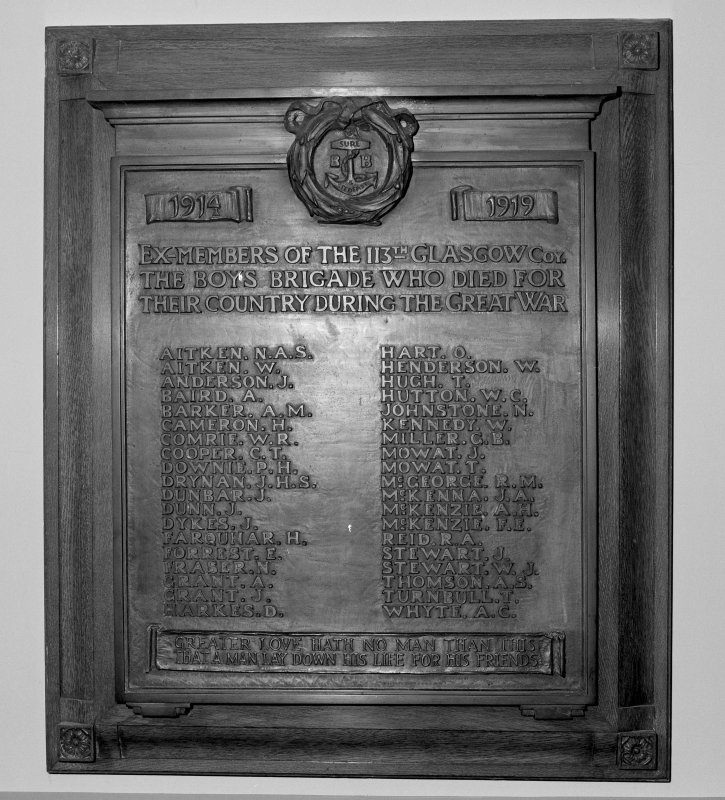 View of 1914-1919 War Memorial plaque to the 113th Co. of Glasgow Boys Brigade