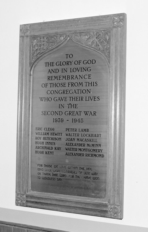 View of 1939-1945 War Memorial plaque