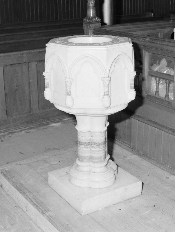 Detail of  marble font