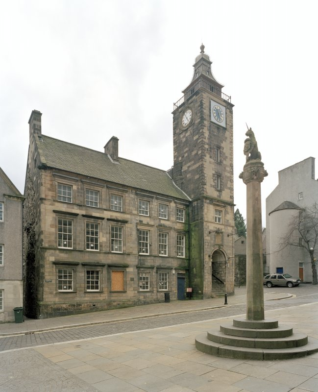 View from South East showing steeple, main front and mercat cross