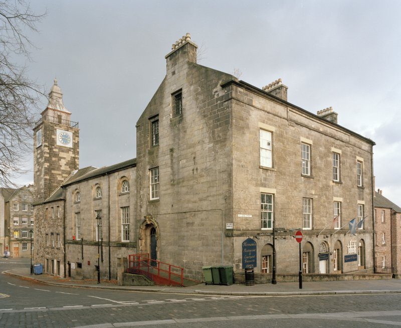 View from North West showing 32 St John Street, the courthouse with the assembley hall and the steeple behind