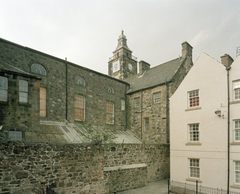 View from SW showing rear of Tolbooth and assembley hall