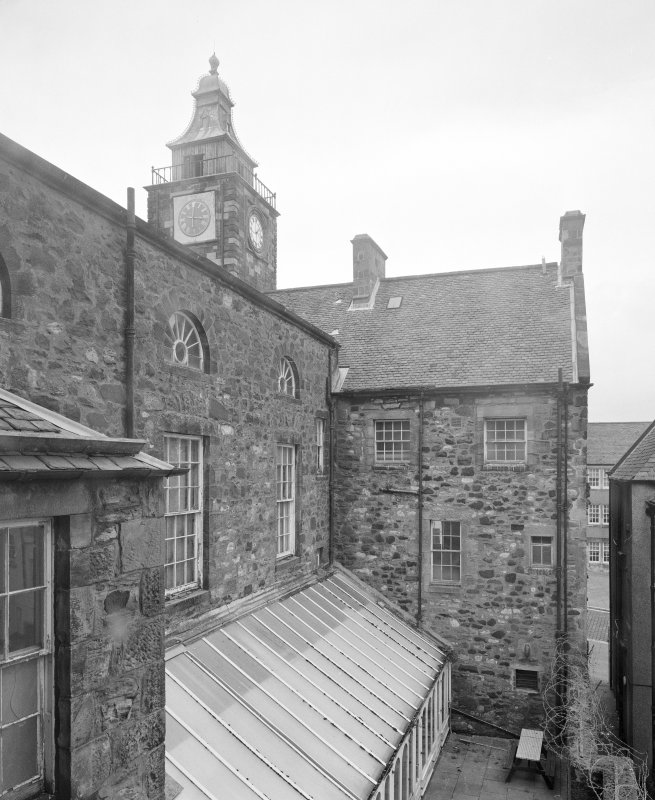 View of rear of tolbooth, assembley hall and conservatory from W