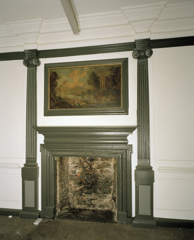 Detail of Tolbooth first floor North room fireplace and painted overmantle