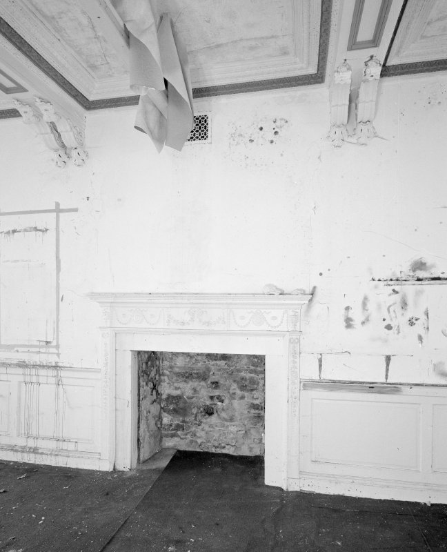 Interior. Tolbooth View of first floor South room  later eighteenth century fireplace, dado and ceiling consol brackets