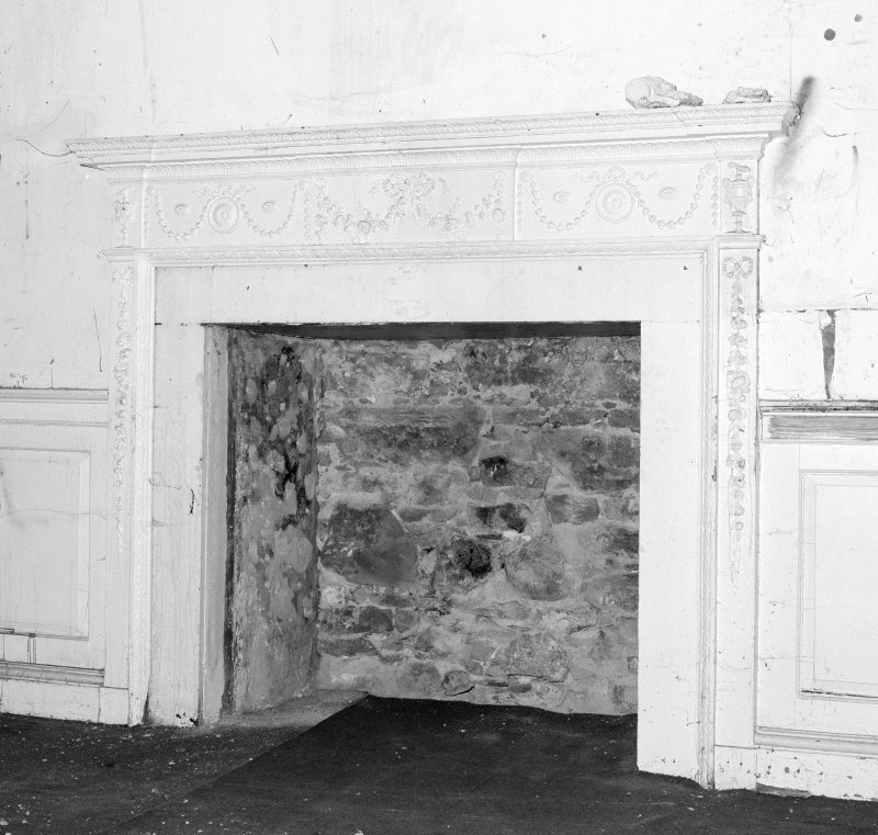 Interior. Tolbooth View of first floor South room showing later eighteenth century fireplace with gesso details