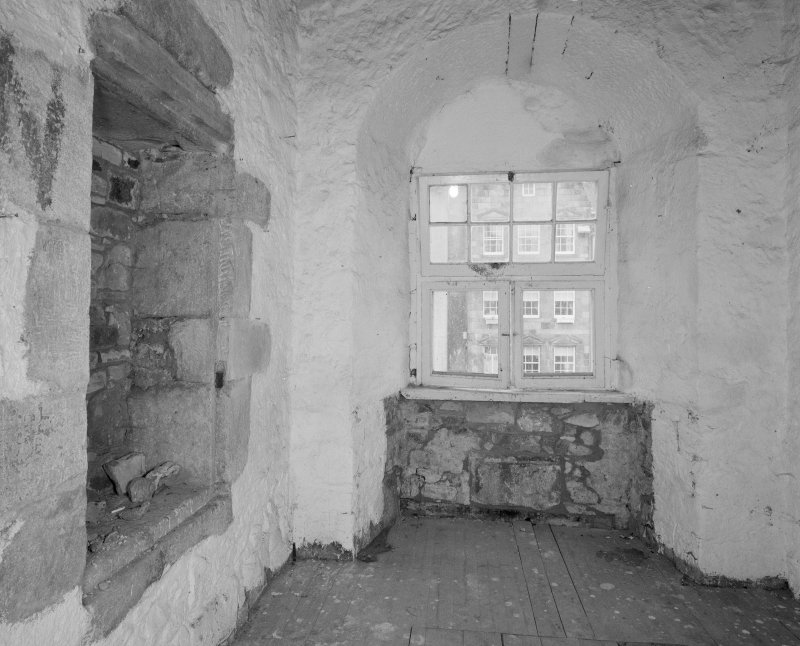 Interior. Tolbooth. View of second floor North East tower room from West