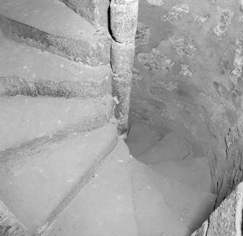 Detail of stone spiral stair to tower