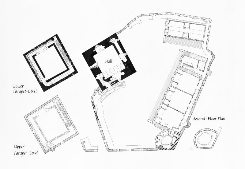 Photographic copy of drawing showing floor plans.