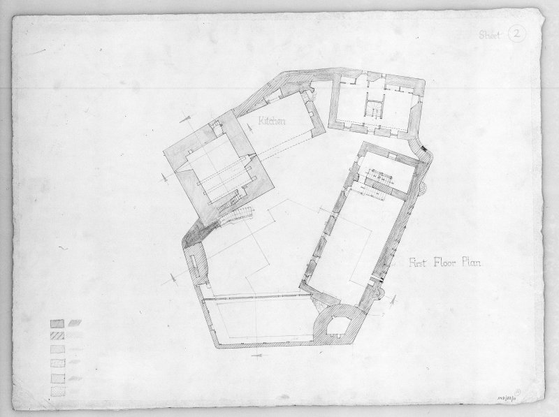 Photographic copy of drawing showing plan of first floor.