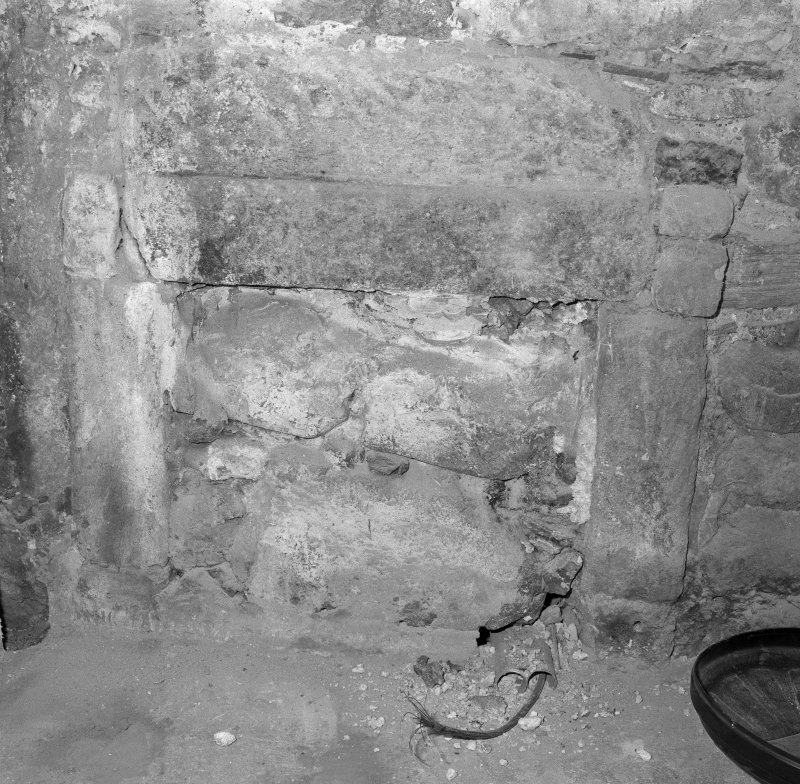 Interior. Tolbooth ground floor detail of blocked fireplace in North West closet