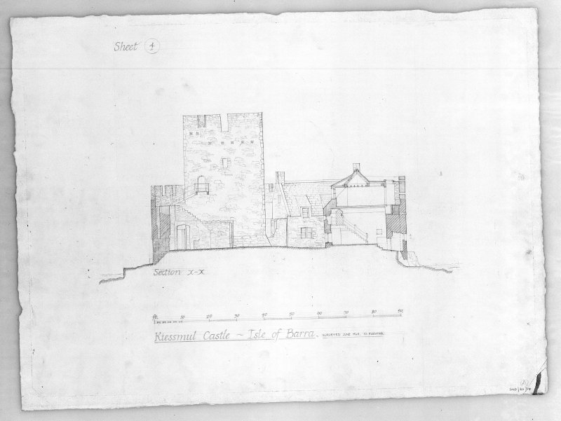 Photographic copy of drawing showing section.