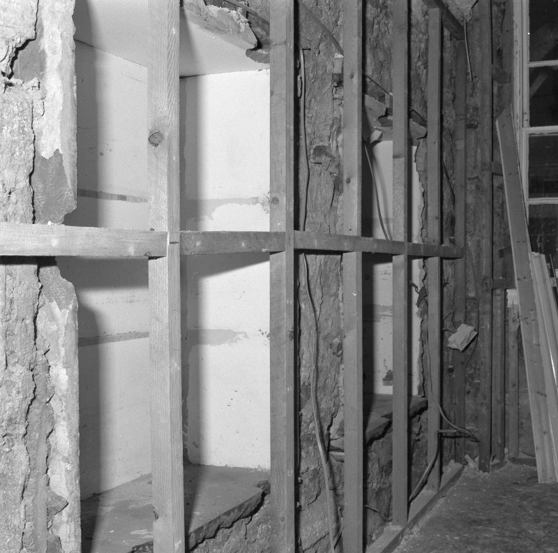 Interior. Tolbooth ground floor view of South room showing blocked openings
