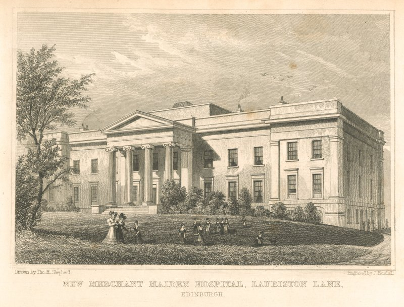 Photographic copy of engraving insc: 'New Merchant Maiden Hospital, Lauriston Lane. Drawn by Tho.H.Shepherd.  Engraved by J. Henshall'.  Copied from Modern Athens.