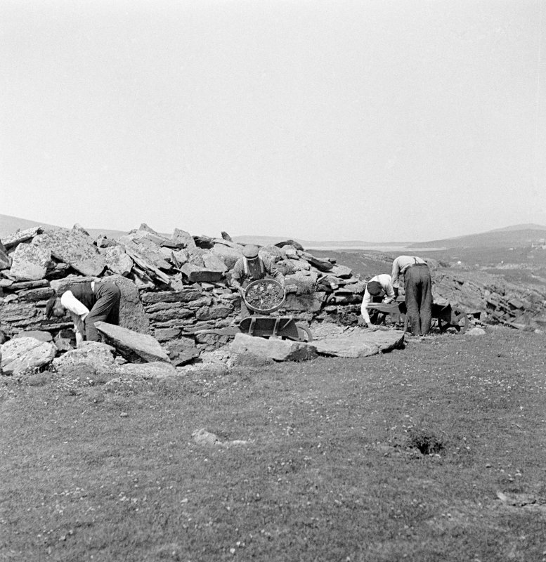 View of Ness of Burgi: excavation of the blockhouse.