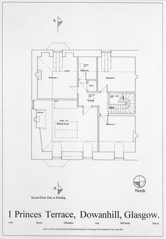 Glasgow, 1 Princes Terrace Photographic copy of second floor plan. Title: '1 Princes Terrace, Dowanhill, Glasgow'. Insc: 'Second Floor Plan As Existing' 'Ault Baxter Gillanders Guy McCready McLay' 'Drawn at 1:50 by Andrew D Ault BSC Building Surveying Year 4 for Glasgow West Conservation Trust April 1993'.