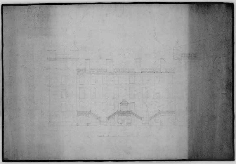 Photographic copy of drawing showing sketch of front elevation.