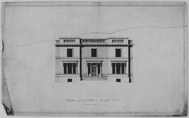 Photographic copy of architectural drawing showing elevation of principal front of Bowhill Country House, Selkirk