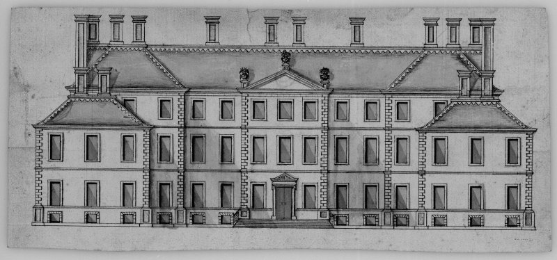 Photographic copy of drawing showing front elevation.